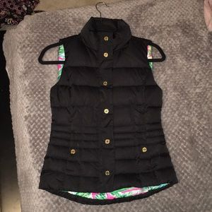 Lily Pulitzer Black Puffer Vest